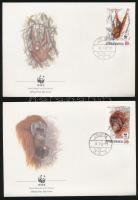WWF Orangutan set 4 FDC WWF: Orangután sor 4 db FDC-n