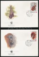 WWF Orangutan set 4 FDC, WWF: Orangután sor 4 db FDC-n