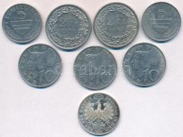 Vegyes: Svájc 1968-1974. 2Fr Cu-Ni (2x) + Ausztria 1983-1998. 5Sch Cu-Ni (2x) + 1990-1995. 10Sch Cu-Ni (3x) + 1967. Aus de Huette-Brixlegg in Tirol jelzett Ag emlékérem (5,66g/0.835/25mm) T:2,2- Mixed: Switzerland 1968-1974. 2 Francs Cu-Ni (2x) + Austria 1983-1998. 5 Schilling Cu-Ni (2x) + 1990-1995. 10 Schilling (3x) + 1967. Aus de Huette-Brixlegg in Tirol hallmarked Ag commeorative medal (5,66g/0.835/25mm) C:XF,VF