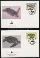 WWF: Turtles set on 4 FDC, WWF: Teknősök sor 4 db FDC-n