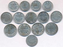Orosz Birodalom 1862-1916. 10k Ag (4xklf) + 15k Ag (6x) + 20k Ag (4xklf) T:2,2-,3 Russian Empire 1862-1916. 10 Kopeks Ag (4xdiff) + 15 Kopeks Ag (6x) + 20 Kopeks Ag (4xdiff) C:XF,VF,F