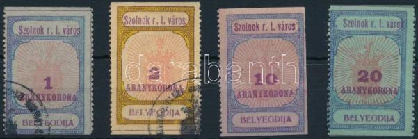 1925 Szolnok városi illeték 27-28 + 31 (3 oldalon fogazatlan) -32 sz. bélyeg (58.000)