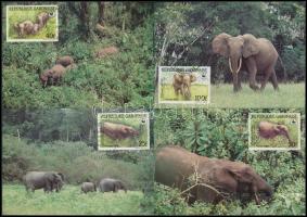 WWF: Erdei elefánt sor 4 db CM - en, WWF Forest elephant set 4 FDC