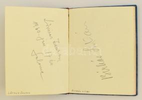 Aláírásgyűjtemény, főleg operaénekesek aláírásai: Házy Erszébet, Simándi József, Margaret Tynes, Antonin Svoré, Pavlánszky Edina, Galsay Ervin, Tiszay Magda, stb., összesen kb. 50 db, jegyzetfüzetben