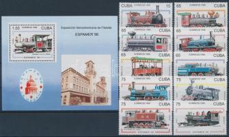 Stamp exhibition, 1998; Train set + block, Bélyegkiállítás, 1998; Mozdony sor + blokk