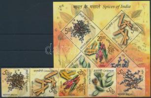 Spices of India stripe of 5 + block, Fűszer ötöscsík  + blokk
