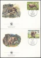 WWF Forest elephant set on 4 FDC-s WWF: Erdei elefánt sor 4 db FDC-n