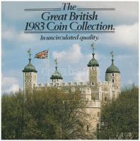 Nagy-Britannia 1983. 1/2p-1Ł (8xklf) forgalmi sor karton díszcsomagolásban, ragasztó elengedett T:1 Great Britain 1983. 1/2 Penny - 1 Pound (8xdiff) coin set in  cardboard case, glue is loose C:UNC