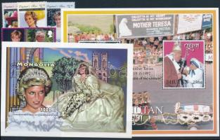 Princess Diana  1997-1998 2 blocks + 1 set + 3 stamps, Diana hercegnő 1997-1998 2 klf blokk + 1 sor + 3 klf önálló érték