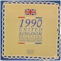 Nagy-Britannia 1990. 1p-1Ł (8xklf) forgalmi sor karton díszcsomagolásban, ragasztó elengedett T:BU Great Britain 1990. 1 Penny - 1 Pound (8xdiff) coin set in cardboard case, glue is loose C:BU