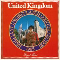 Nagy-Britannia 1985. 1p-1Ł (7xklf) forgalmi sor karton díszcsomagolásban T:BU Great Britain 1985. 1 Penny - 1 Pound (7xdiff) coin set in cardboard case C:BU