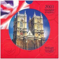 Nagy-Britannia 2003. 1p-2Ł (10xklf) forgalmi sor karton díszcsomagolásban, közte 2003. 50p Cu-Ni Női választójog T:BU Great Britain 2003. 1 Penny - 2 Pounds (10xdiff) coin set in cardboard case, including 2003. 50 Pence Cu-Ni Womans Suffrage C:BU