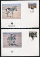 WWF Zebra set on 4 FDC, WWF Zebra sor 4 db FDC-n