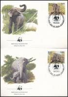 WWF: Elephants set on 4 FDC, WWF: Elefántok sor 4 db FDC-n