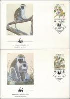 WWF: Monkey set on 4 FDCs, WWF: Majom sor 4 db FDC-n