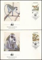 WWF: monkey set on 4 FDCs WWF: Majom sor 4 db FDC-n