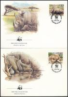 WWF: White rhinoceros set on 4 FDC, WWF: fehér orrszarvú sor 4 db FDC-n