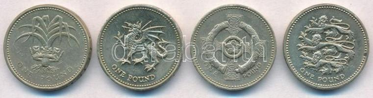 Nagy-Britannia 1985-2002. 1Ł (4xklf) T:2,2- Great Britain 1985-2002. 1 Pound (4xdiff) C:XF,VF