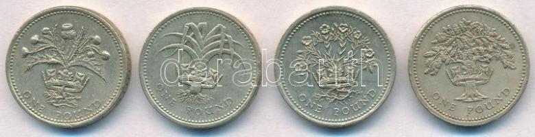 Nagy-Britannia 1989-1992. 1Ł (4xklf) T:2,2- Great Britain 1989-1992. 1 Pound (4xdiff) C:XF,VF