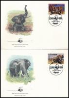 WWF African elephant set on 4 FDC WWF: Afrikai elefánt sor 4 db FDC-n