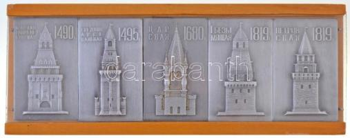 Szovjetunió DN Moszkvai tornyok, 5db fém plakett fadobozba rögzítve (plakettek: 40x65mm, doboz: 80x210mm) T:2 Soviet Union ND Towers of Moscow, 5pcs of metal plaques fixed in a wooden case (plaques: 40x65mm, case: 80x210mm) C:XF