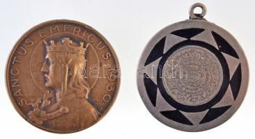 1930. Szent Imre Cu jelvény. SANCTUS EMERICUS 1930, sérült tű (30mm) + DN arab feliratú medál elő és hátla Ag, hátlapi lemezen beütés (S)TERLING 925 T:2,2- ph.