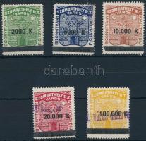1924 Szombathely bizonyítvány kiállítási díj 17-21 sz. bélyegek (35.000)