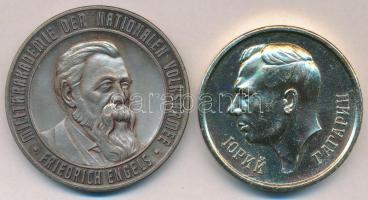 NDK DN Engels portréját ábrázoló fém emlékérem (50mm) + Szovjetunió DN Gagarin portréját ábrázoló emlékérem (45mm) T:2 GDR ND Metal commemorative medal depicting the portrait of Engels (50mm) + Soviet Union ND Metal commemorative medal depicting thet portrait of Gagarin (45mm) C:XF
