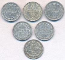 Orosz Birodalom 1901-1914. 10k Ag (6xklf) T:2,2- Russian Empire 1901-1914. 10 Kopeks Ag (6xdiff) C:XF,VF Krause Y#20a.2, Y#20a.3