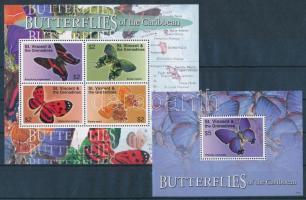 Butterflies minisheet + block, Lepkék kisív + blokk
