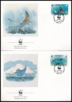 WWF: Sea animals set on 4 FDC, WWF: Tengeri állatok sor 4 db FDC-n