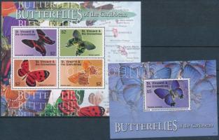 Butterflies mini sheet + block, Lepkék kisív + blokk