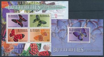 Butterfly mini sheet + block, Lepkék kisív + blokk