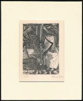Kondor Béla (1931-1972): Lovag, rézkarc, papír, utólagos jelzéssel, paszpartuban, 11x8 cm