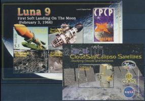 Űrkutatás kisív + blokk, Space research minisheet + block