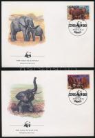 WWF African elephant set on 4 FDC-s, WWF: Afrikai elefánt sor 4 db FDC-n