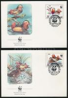 WWF Mandarin ducks set 4 FDCs, WWF Mandarinréce sor 4 FDC