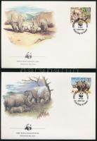 WWF White rhinoceros set 4 FDC, WWF: fehér orrszarvú sor 4 db FDC-n