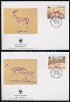 WWF Goitered gazelle set 4 FDC, WWF: Golyvás gazella sor 4 db FDC-n