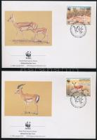 WWF: Goitered gazelle set on 4 FDC, WWF: Golyvás gazella sor 4 db FDC-n