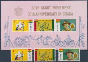 50th anniversary of Scouting set + imperforated block, 50 éves a cserkészet sor + vágott blokk