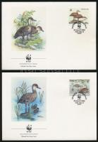 WWF Whistling duck set on 4 FDC WWF: Pálmafütyülőlúd sor 4 db FDC-n