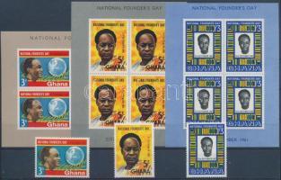 52nd Birthday of Kwame Nkrumah  set + blockset, Kwame Nkrumah 52. születésnapja sor  + blokksor