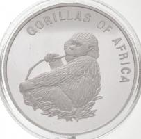 Uganda 2002. 1000Sh ezüstözött Br Afrika gorillái - Falatozó gorilla T:PP fo. Uganda 2002. 1000 Shillings silver plated Br Gorillas of Africa - Gorilla eating C:PP spotted Krause KM#102