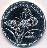 Seychelles-szigetek 1994. 25R Ag Veszélyeztetett állatvilág - Pillangó T:PP fo. Seychelles 1994. 25 Rupees Ag Endangered Wildlife - Butterfly C:PP spotted