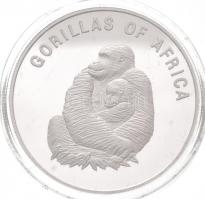 Uganda 2002. 1000Sh ezüstözött Br Afrika gorillái - Nőstény gorilla kölykével T:PP fo. Uganda 2002. 1000 Shillings silver plated Br Gorillas of Africa - Gorilla female with infant C:PP spotted Krause KM#104