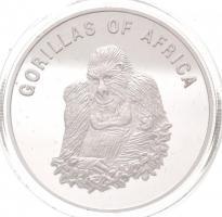 Uganda 2002. 1000Sh ezüstözött Br Afrika gorillái - Ülő gorilla T:PP fo. Uganda 2002. 1000 Shillings silver plated Br Gorillas of Africa - Seated gorilla C:PP spotted Krause KM#101