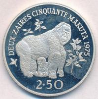 Zaire 1975. 2 1/2Z Ag Hegyi gorilla T:PP ujjlenyomat Zaire 1975. 2 1/2 Zaires Ag Mountain Gorilla C:PP fingerprints Krause KM#9