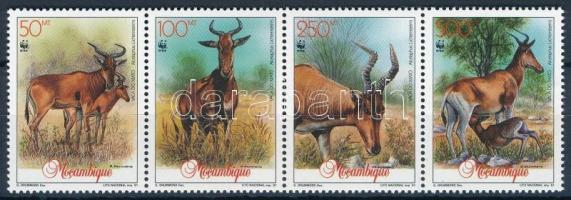 WWF: Antelope stripe of 4 + set on 4 FDC, WWF: Antilop négyescsík + sor 4 FDC-n
