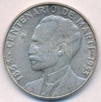 Kuba 1953. 1P Ag Jose Marti T:2,2- ü. Cuba 1953. 1 Peso Ag Jose Marti C:XF,VF ding Krause KM#29